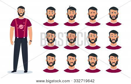 Face Expressions. Cartoon Man Character With Set Of Different Emotions Angry, Pain, Sad, Happy, Surp