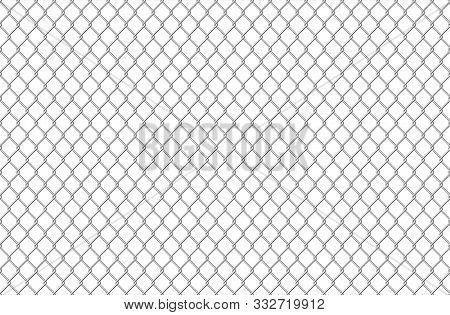 Wire Fence Pattern. Seamless Steel Texture Background, Realistic Chainlink Safe Fence Isolated On Wh