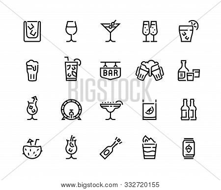 Alcohol Drinks Line Icons. Cocktails, Beer Bottle And Beverages, Vermouth Margarita And Other Tropic