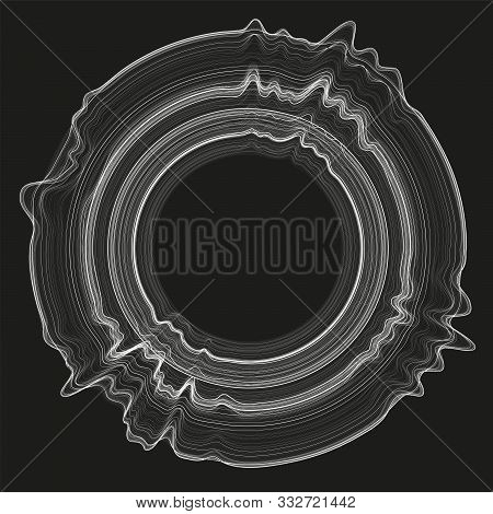 Vector 3d Echo Audio Circular Wavefrom Spectrum. Abstract Music Waves Oscillation Graph. Futuristic