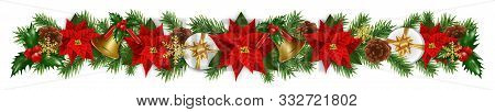 Christmas And New Year Border Decorations Garland With Fir Branches, Golden Bells, Christmas Flowers