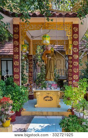 Nha Trang, Vietnam - March 11, 2019: Chua Loc Tho Buddhist Temple, Primary School And Orphanage. Sta