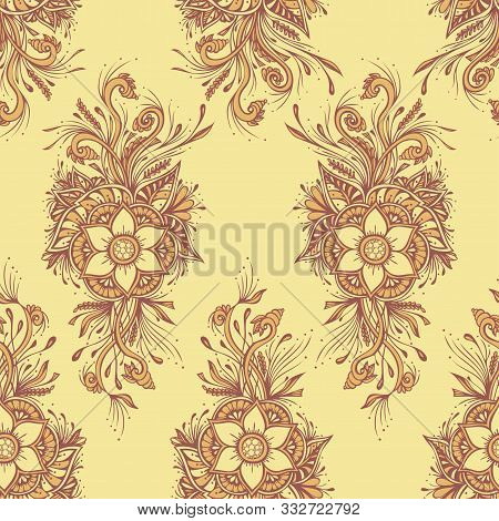 Seamless Pattern Or Texture With Decorative Flowers In Beige For Wallpaper Or Textile Or Decoration