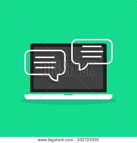 Online Chatting In Cartoon Laptop. Flat Style Trend Modern Logo Graphic Simple Design Isolated On Gr