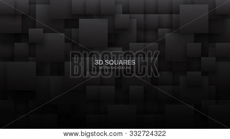 Conceptual 3d Vector Different Size Square Blocks Technologic Dark Gray Abstract Background. Science