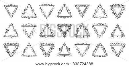 Decorative Vintage Ornamental Frame Set. Elegant Triangular Monogram. Text Frames For Label, Tag, Me