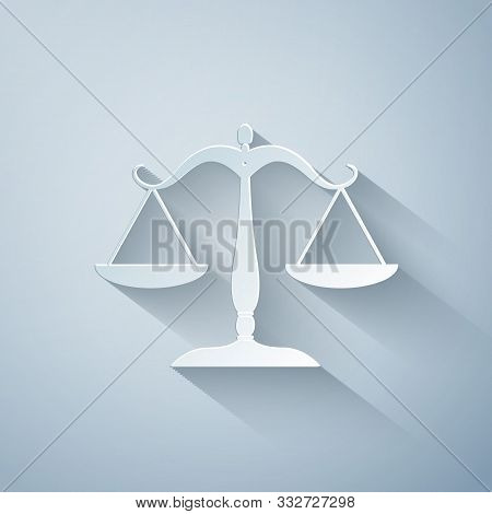Paper Cut Scales Of Justice Icon Isolated On Grey Background. Court Of Law Symbol. Balance Scale Sig