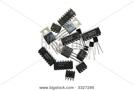 Several electronic components over a white background poster