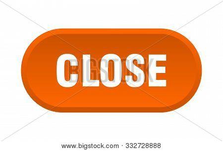 Close Button. Close Rounded Orange Sign. Close