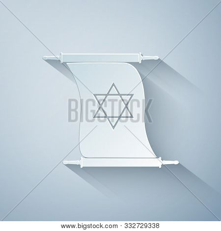Paper Cut Torah Scroll Icon Isolated On Grey Background. Jewish Torah In Expanded Form. Torah Book S
