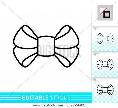 Bow Single Thin Line Icon. Ribbon Banner. Gift Design, Present Decoration. Tie Linear Pictogram. Sim