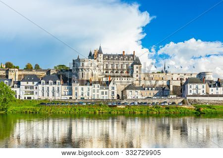 Beautiful View On The Skyline Of The Historic City Of Amboise With Renaissance Chateau Across The Ri