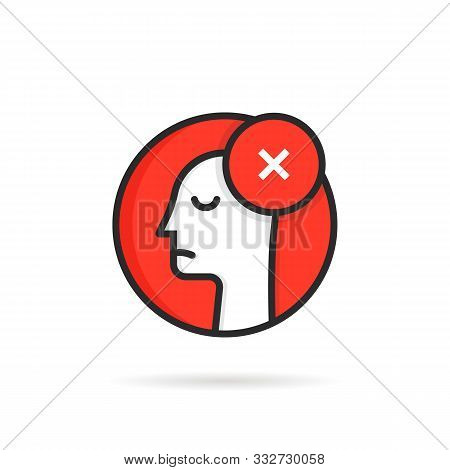 Round Icon Like Linear Dismissal Logo. Concept Of Side View Of Face And People Unhappy Emotion Like