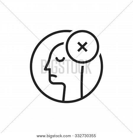 Black Thin Line Dismissal Round Logo. Stroke Flat Style Trend Modern Logotype Graphic Art Design Iso