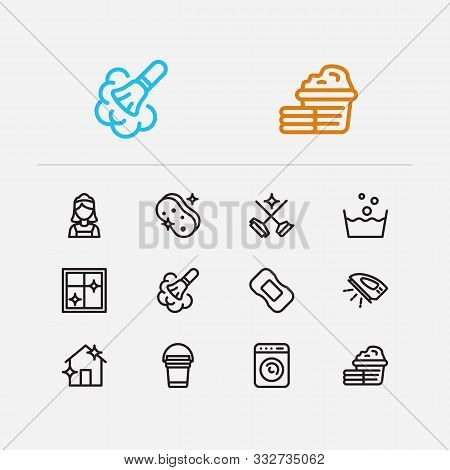 Hygiene Icons Set. Cleaning Service And Hygiene Icons With Cleaning Maid, Soap And Dust Cleaning. Se