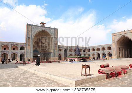 Courtyard of Masjid-e Jameh Mosque (Jame mosque,  Friday Mosque), Isfahan, Iran. UNESCO World Heritage Site