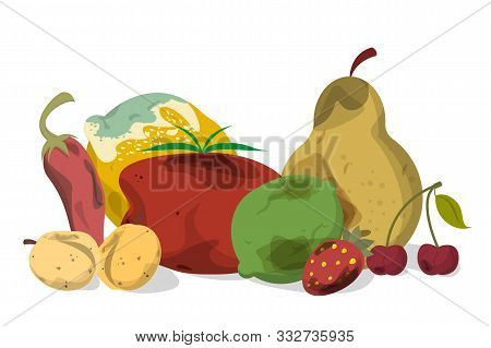 Rotten Vegetable And Fruit Vector Isolated. Food Waste