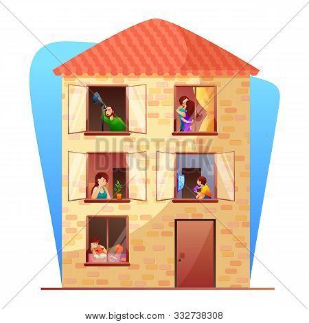 Residential Multi Storey Building Flat Vector Illustration. Neighbors Cartoon Characters. Apartment