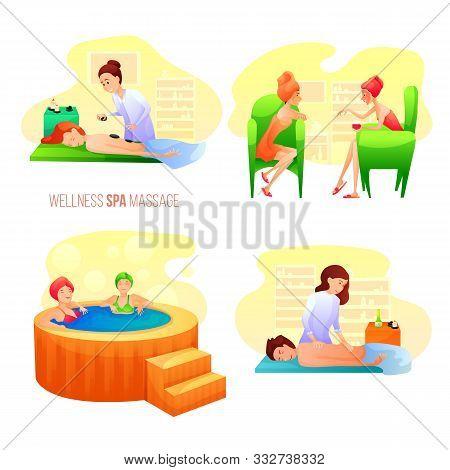 Spa Salon Vector Illustrations Set. Women Having Procedures Cartoon Characters. Stone Massage, Hot B
