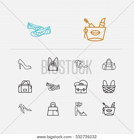 Bags Icons Set. Kitten Heel Shoes And Bags Icons With Chunky Heel, Footwear And Safari Bag. Set Of A