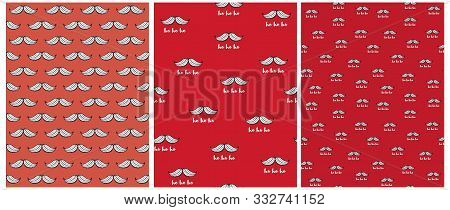 Funny Simple Christmas Vector Patterns. White Santa Claus Moustache On A Red Background. White Ho Ho