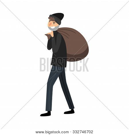 Thief In Black Clothes With A Bag Of Loot. Vector Illustration In Flat Cartoon Style.