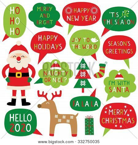 Christmas Party Photo Booth Props And Clip Art Set