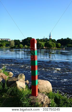 The Russian Frontier Pillar By The River
