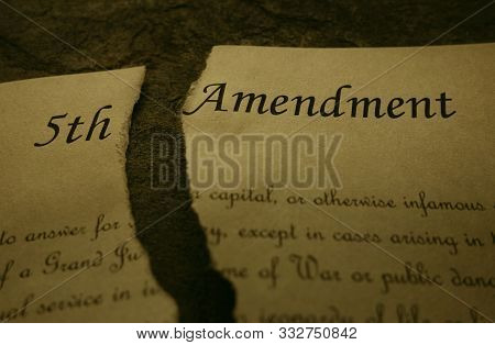 Fifth Amendment Of The Us Constitution Text Ripped In Half