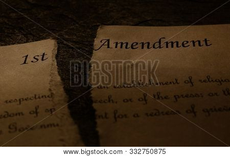 First Amendment Text Of The Us Constitution Ripped In Half -- Freedom Of Speech , Religion Or Press
