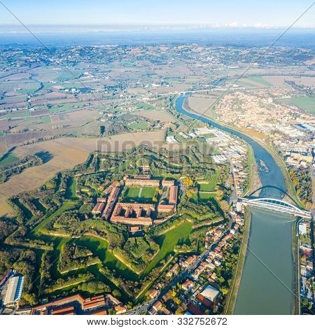 Aerial View Of Modern Six-star Hexagon Shaped Fort Cittadella Of Alessandria On Winding River Tanaro