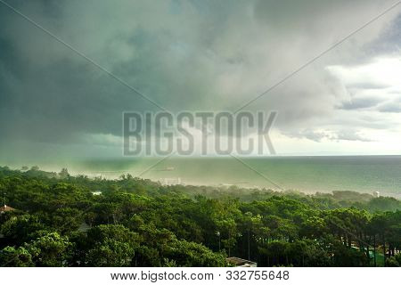 Clouds On The Seashore Or The Ocean, The Weather Is Getting Worse, It Will Soon Rain And Hurricane,
