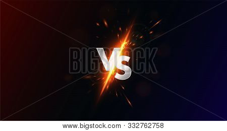 Versus - Image Blank, Vs Collision Of Metal Letters With Sparks And Glow On A Red-blue Background, C