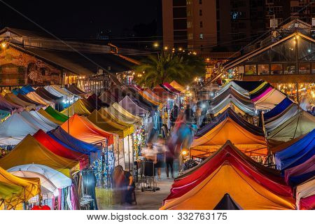 Colourful Talad Rod Fai Train Night Market In Bangkok, Thailand. New Flea Market Place At Bangkok.