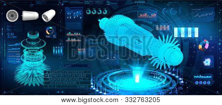 Hologram Jet Engine Of Airplane In Hud, Gui Style. Futuristic Engineering Illustration. Industrial A