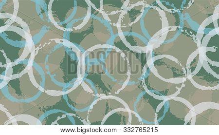 Funky Hand Drawn Circles Geometry Fabric Print. Circular Splotch Overlapping Elements Vector Seamles