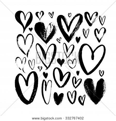 Heart Sketch Collection. Hand Drawn Rough Brush Hearts Isolated On White Background. Graffiti Style