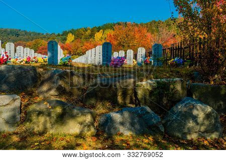 Daejeon, South Korea; November 3, 2019: Rows Of Headstones With Background Of Trees In Fall Colors A