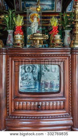 Nha Trang, Vietnam - March 11, 2019: Inside Farm House. Old Brown Wooden Tv-cabinet Refurbished Into