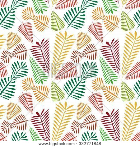 Seamless Pattern Of Multicolored Simple Leaflets - Golden Autumn.