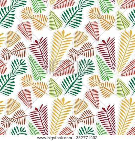 Seamless Pattern Of Multicolored Simple Leaflets With Gray Shadow - Golden Autumn.
