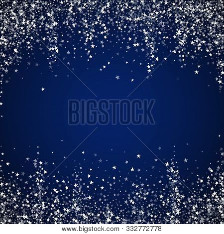 Amazing Falling Stars Christmas Background. Subtle Flying Snow Flakes And Stars On Dark Blue Night B