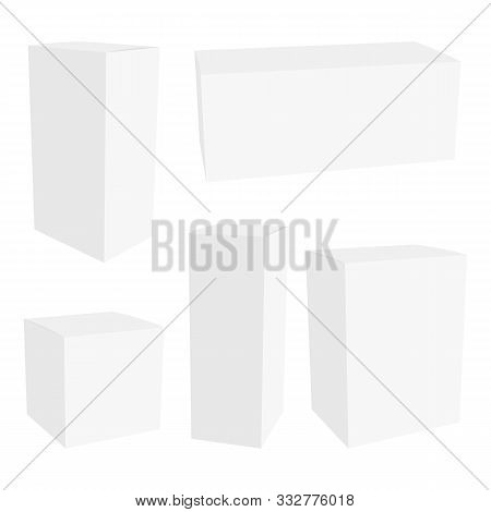 White Cardboard Packaging Box. Mockup Can Be Used For Medicine And Cosmetic. Vector Illustration.