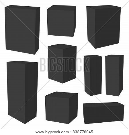 Black Cardboard Packaging Box. Mockup Can Be Used For Medicine And Cosmetic. Vector Illustration.