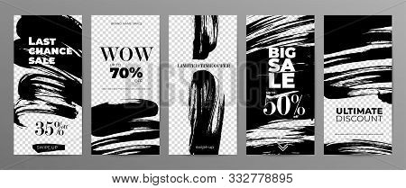 Sale Story Template For Social Media On Transparent Background. Wholesale Web Banner Designs Pack. L