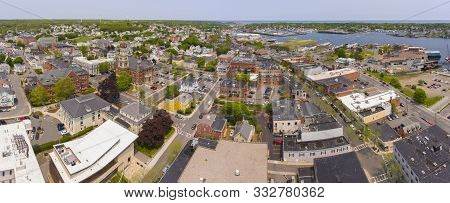 Aerial View Of Gloucester City And City Hall Panorama, Cape Ann, Massachusetts, Ma, Usa.