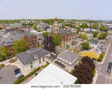 Aerial View Of Gloucester City And City Hall, Cape Ann, Massachusetts, Usa.