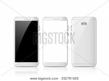 Modern White Touchscreen Cellphone Tablet Smartphone Isolated On Light Background. Phone Front And B