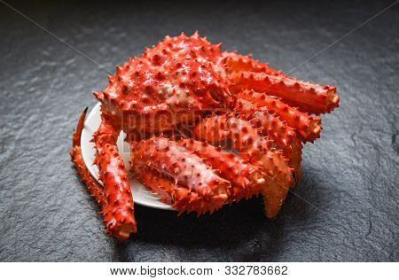 Red Crab Hokkaido / Alaskan King Crab Cooked Steam Or Boiled Seafood On Dark Background