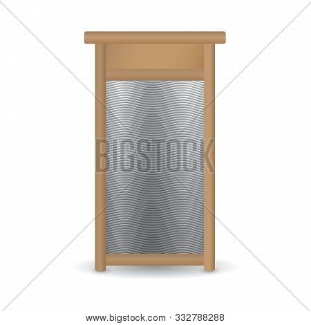 Realistic Hand Ribbed Metal Washboard In Wooden Frame Isolated On White Background. 3d Illustration.